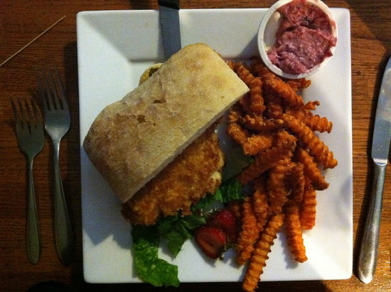 A.T. the Black and White: walleye sandwich and sweet potato fries