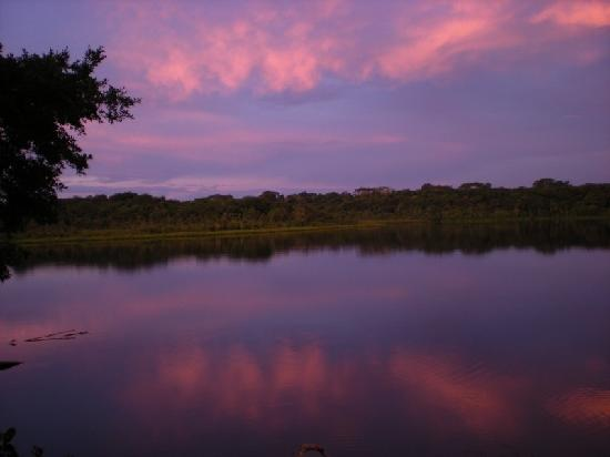 Napo Wildlife Centre: Sunset on the Lagoon from our Cabana