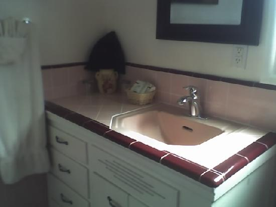Beach House Inn & Apartments: Bathroom sink. Hair dryer is in the black tote.