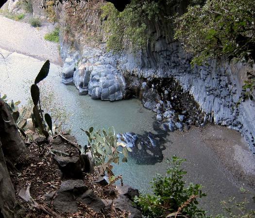 Gole Alcantara Terralcantara: varietà di rocce laviche e piante