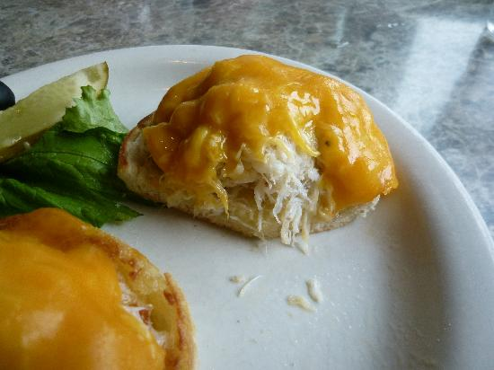 Driftwood Restaurant & Lounge: Crab sandwhich on English muffin with cheese