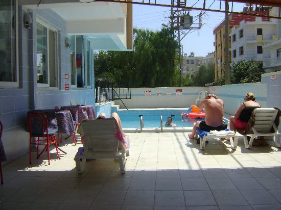 Talat Hotel: view from shaded area of pool