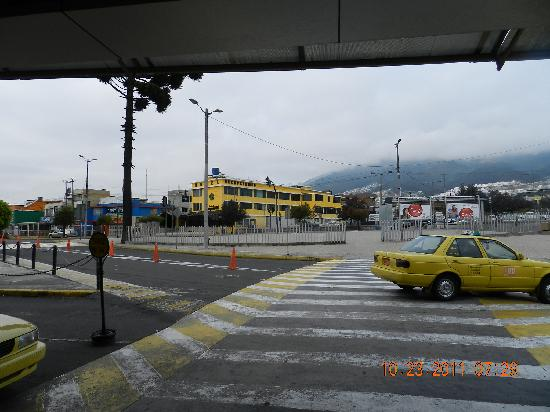 Hotel Aeropuerto Quito, Ecuador - just across the street, budget accommodations, yellow building