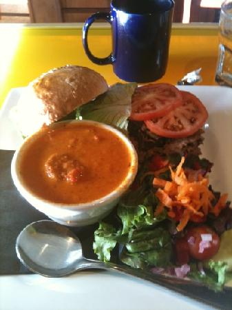 The Wood Restaurant & Lounge: BBQ beef kaiser and pepper/tomato soup
