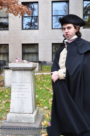 Lessons on Liberty: Bob Miller, historian and tour guide, beside Paul Revere's monument