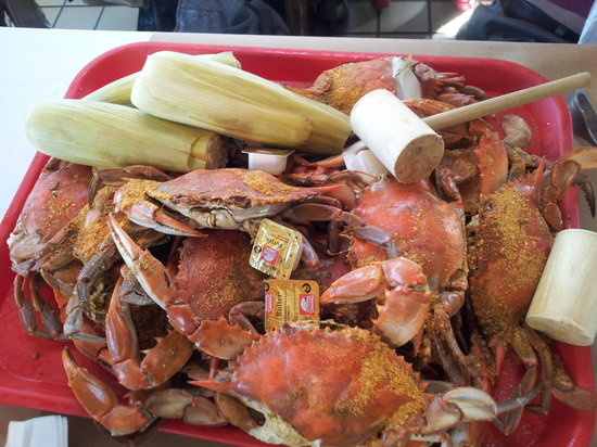 Cantler's Riverside Inn: tray of crabs...