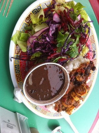 Bien : shrimp dinner with great blackbeans