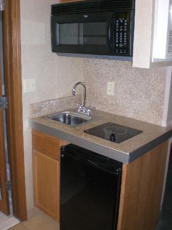 LivINN Hotel Cincinnati North / Sharonville : One burner stove and fridge