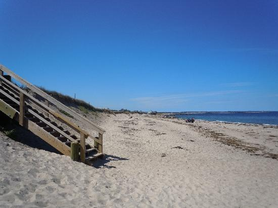 Boardwalk ends at stairs to the beach
