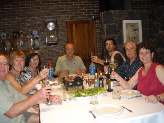 Lujan de Cuyo B&B: L-R John/Julie, Cora/Ricardo/Nacho, Pat/Yvonne - Dinner