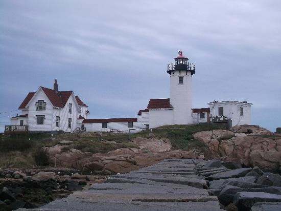 Eastern Point Lighthouse: View of the Lighthouse from the breakwater