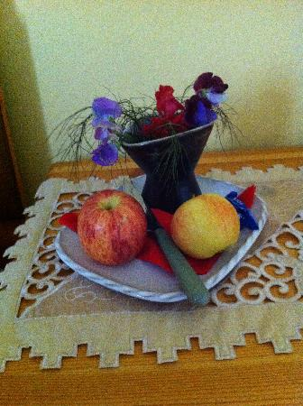 welcoming fruit & flowers in our twin room at Fergus View