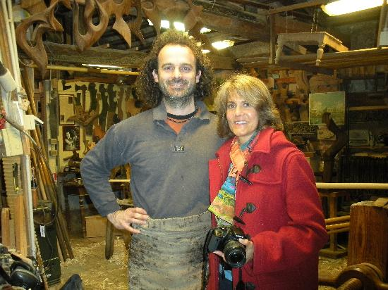 The workshop of Paolo Brandolisio: Mary poses with Paolo.