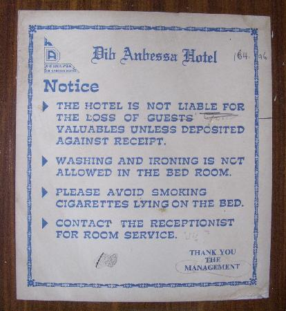 Dib Anbessa: Notice to guests
