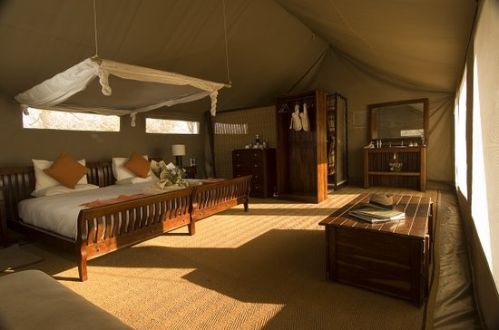 Linyanti Bush Camp: The meru tents are spacious at 8×5 metres (24×15 feet) and offer a bedroom and living area with