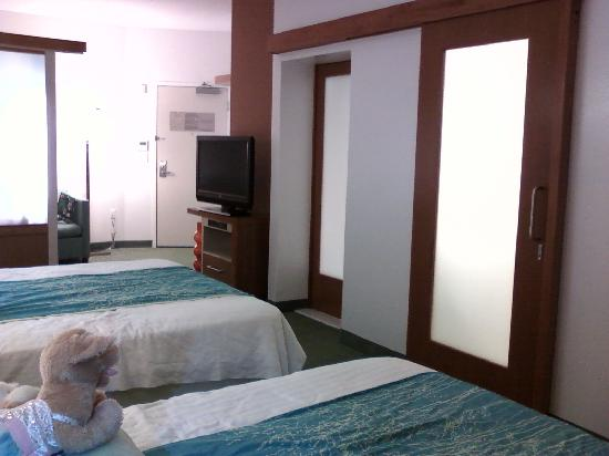 SpringHill Suites Cincinnati Airport South: Bathroom doors, such a huge space saver!