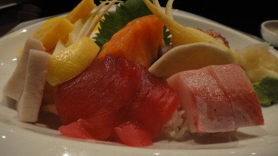 Blue Ginger Sushi & Lounge: I think it's called Chirashi? The sashimi on rice. YUM! :D