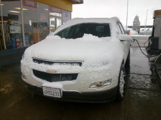 Motel 8 Laramie: Schnee am Morgen danach :-)