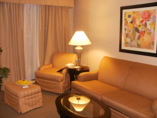 Homewood Suites Alexandria: Comfy living room w/ HD TV and kitchenette