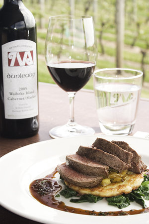 The Shed Te Motu : Our Dunleavy Cabernet/Merlot blend served along side Hawkes Bay Lamb