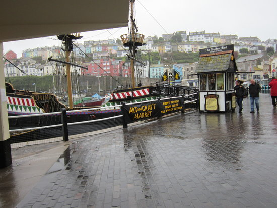 Brixham, UK : Harbour with Golden Hind in the background