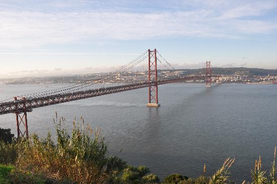 Rio Tejo: view to Tejo and Ponte de 25 Abril  from Cristo Rei