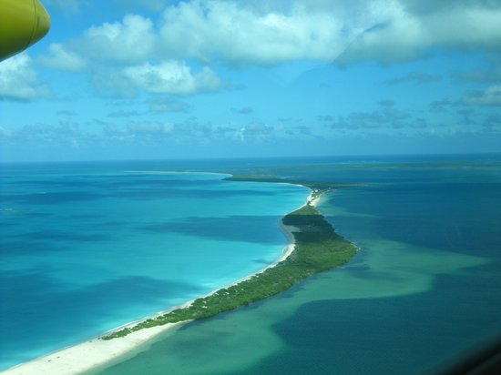 View of the western side of Barbuda from the air