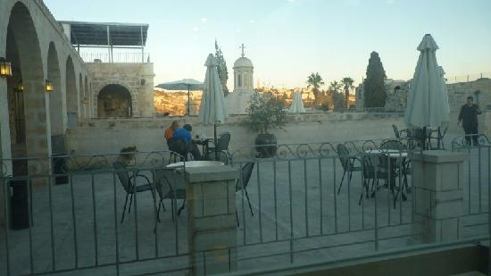 Ecce Homo Convent: The main terrace on the roof that leads to dinning room, library and coffee!