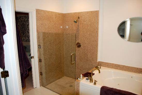 Sunset Ridge Bed and Breakfast: Shower and jetted tub