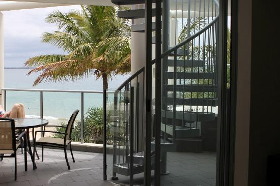 On The Beach Noosa: View from living area with spiral staircase to top area