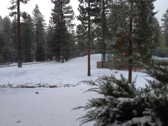 Worldmark at Big Bear: more snow, tennis court to the right