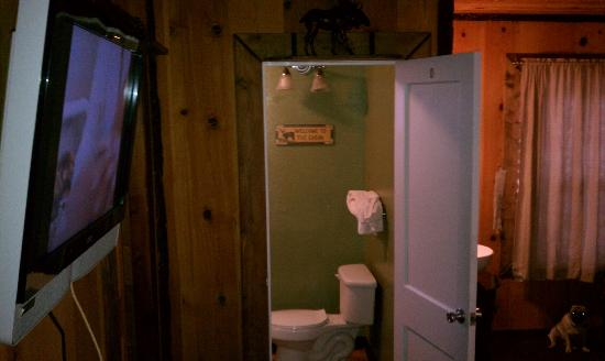 Shasta Inn: Room and separate bathroom