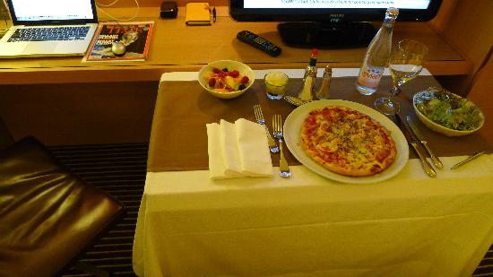 Hotel InterContinental Geneve: Dinner delivered by room service.