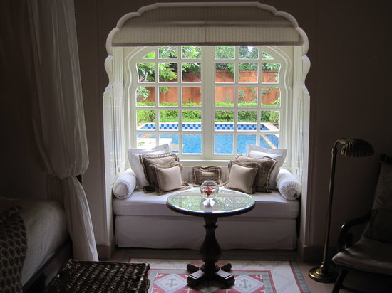 The Oberoi Rajvilas: Looking from the bedroom to the private yard