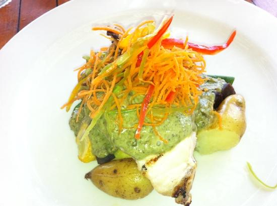 Ola at Turtle Bay Resort: fresh catch of the day with spinach lava sauce