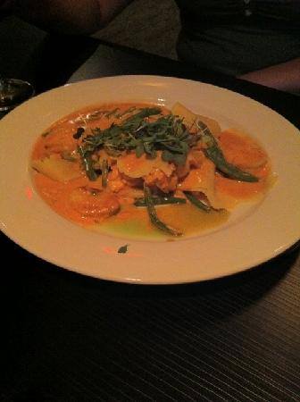 Teknique: Free Form Seafood Lasagna (Shrimp, scallops, Maine crab, lobster, lobster cream, micro greens)