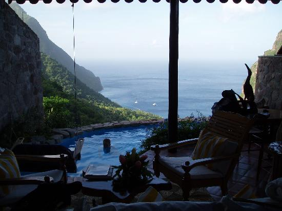 Ladera Resort: View from the hilltop suite - which included a swing over the pool!