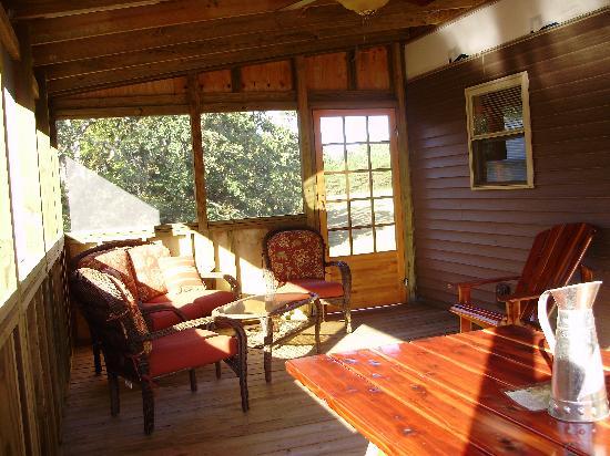 Rim Rock's Dogwood Cabins: Eagle's Retreat screened in porch