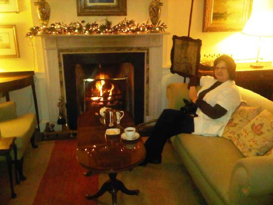 Newforge House: The roaring fire in the tea room was most enjoyable after a long cold day