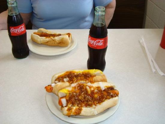 Zack's: Great Chili Dogs and Coke in a 6oz bottle.