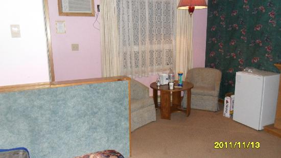Howard Johnson Inn Gananoque: The sitting area - yes folks, that is blue carpeting on the wall