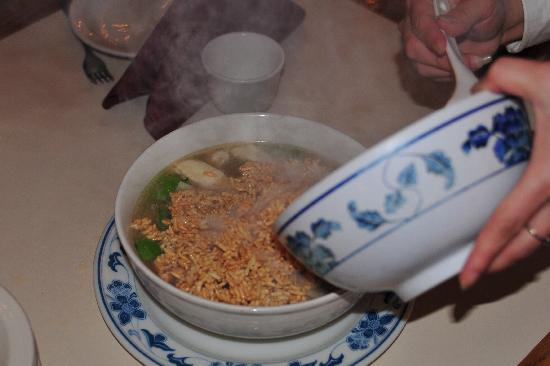 Sizzling rice soup - Picture of Mandarin Cove Chinese ...
