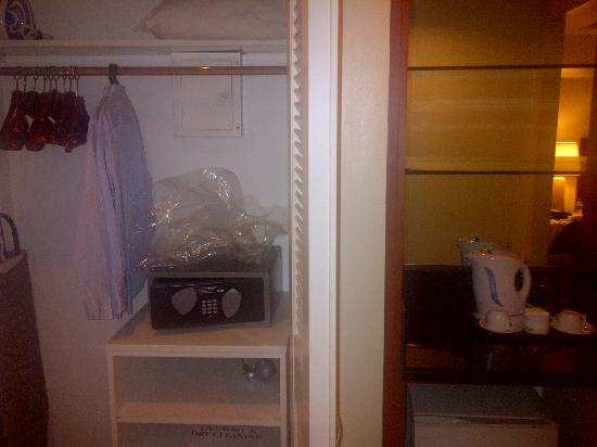Somerset Olympia Makati: The cupboard and safe box.
