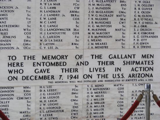 USS Arizona Memorial: Memorial Plaque