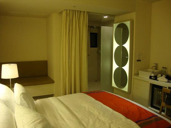 Bangkok Hiptique Residence: mirror/curtain to cover the toilet door