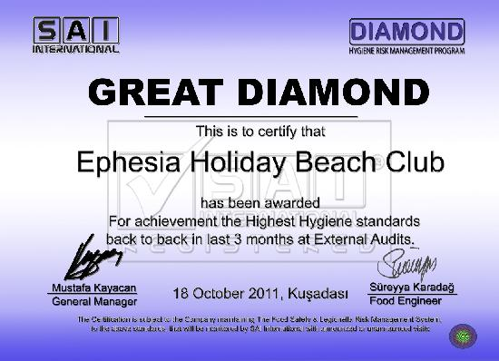 Ephesia Holiday Beach Club: Certificate of Hygiene
