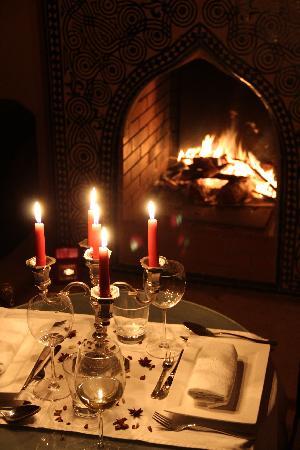 Bellamane, Ryad & Spa: Notre dernier diner près du feu