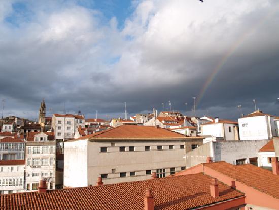 Arco iris desde la ventana, Hotel Garelos, Betanzos