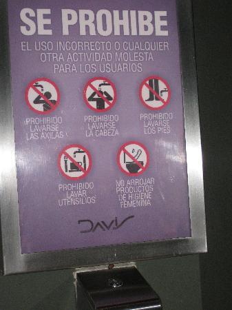 Davis Restaurant at MACRO: Hilarious bathroom warning: no washing armpits, head or feet in sink