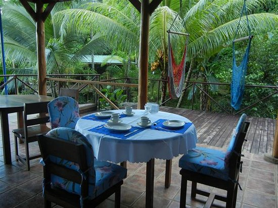 Albergue Alma de Hatillo: Eating area with hammocks